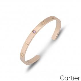 Cartier Rose Gold Pink Sapphire Cuff Love Bracelet Size 17 B6030017